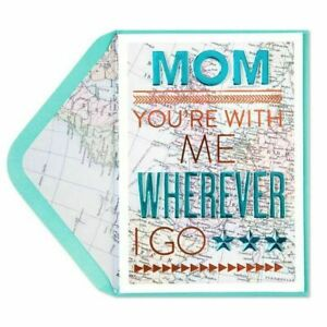 Papyrus Mother's Day Card - You're With Me Wherever I Go with map of Europe