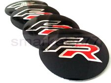 4x 56mm Seat FR Car Wheel Center Caps Metal Curve Badge Sticker Logo