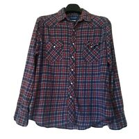 Wrangler Mens Large Vintage Pearl Snap Western Shirt Blue Red Plaid Long Sleeve