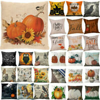 US Halloween Happy Pillow Cases Fall Sofa Pumpkin Throw Cushion Cover Home Decor