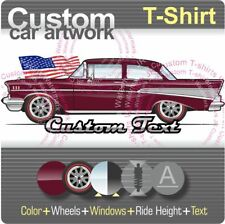 Custom T-shirt 57 1957 Chevy Chevrolet Bel Air Sedan 2 Door Turbo-Fire 283 V8