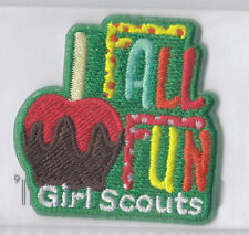 Girl Scouts Embroidered Badge Fun Patch Badge~Dipped Candy Apple Fall Fun