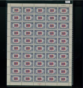 1943 United States Postage Stamp #911 Norway Mint Full Sheet