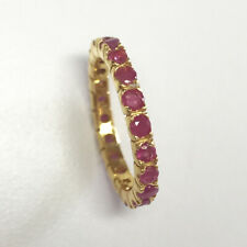 RUBY Sapphire Eternity Bands Ring 925 Sterling Silver Gold Plated 18K Rings Sz 8