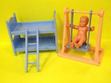 Vintage Best Usa Hard Plastic Bunkbeds w/Ladder & Rubber Baby & Swing* 1960s