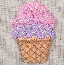 Ice Cream Cone - Purple/Pink - Food/Treat - Iron on Applique/Embroidered Patch