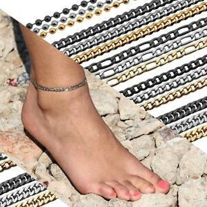 Fußkettchen Fußkette Knöchel Silber Gold Edelstahl Damen Figaro Kette Armband