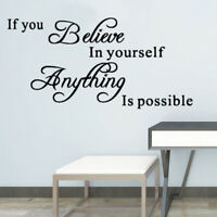 Believe in Yourself Motivation Quote Wall Stickers Art Removable Decal DIY Decor