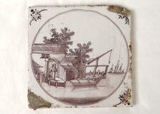 Carreau faïence Delft manganèse personnage pêcheur barque bateaux XVIIIème
