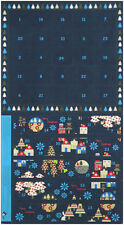 """Enchanted Forest Advent Calendar Navy Blue 100% cotton fabric by the Panel 23"""""""