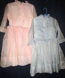 2 Vintage Blue Pink Nylon Chiffon Sheer Girl Party Dress Sz 8/10 Fein Original
