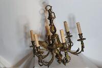 Large Antique Bronze Metal Victorian Style Chandelier 6 Lights Gilded Designs