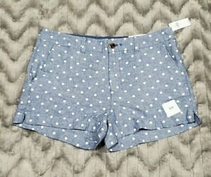 Old Navy Womens Size 8 Everyday Shorts Blue White Polka Dot Mid Rise Linen Blend