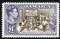Jamaica 1938 chocolate/violet £1 multi-script mint SG133a