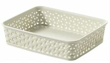 2 X A5 Curver My Style Vintage White Rattan Stationary Paper Storage Tray Basket