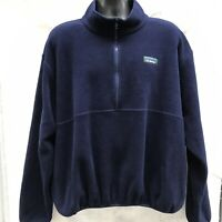 Vintage LL Bean Navy Blue Fleece 1/4 Zip Pullover Jacket Mens 2XL