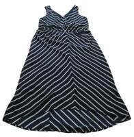 Pure Energy Women's Sleeveless Dress 1X Plus Blue White Diagonal Stripes Elastic