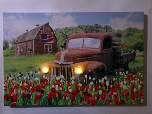 Rusty Farm Truck LED Headlights Picture Home Decor Ford Truck Old Barn Tulips