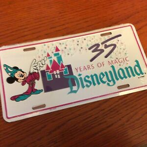 Disneyland 35 Years of Magic License Plate Disney Mickey Mouse Sorcerer 1990 NEW
