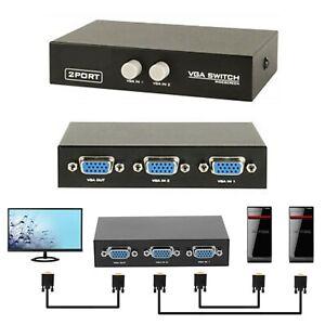 I07C VGA Switch Box Schalter 2 In 1 Out Umschalter f PC Monitor Fernseher Beamer
