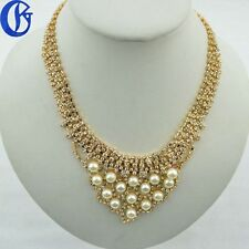 Womens Fashion Accessories Crystals Pendant Choker Chain Charm Pearls Necklace
