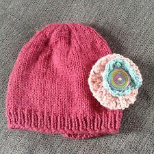 New Artisan Handknit Baby Girls Cold Weather Flower Accent Winter Hat Cap
