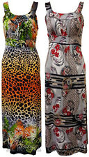 New Womens Plus Size Tropical Floral Animal Print Tie Back Maxi Dress 14-28