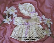 "CROCHET PATTERN for ""TAMMY""  Baby Dress and Hat by REBECCA LEIGH--- 6/12 MONTHS"