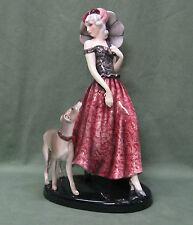 Art Deco Austrian Pottery Lady With Dog, Claire Weiss, Gold Scheider Wien, #7723