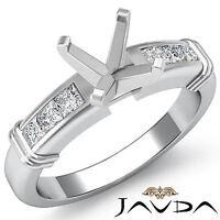 Diamond Engagement Channel Setting Ring Asscher Semi Mount Platinum 950 0.4Ct