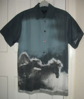 Mens Copperstone Grey/Blue/White Cotton Short  Sleeve Casual  Shirt Size:M(MT24)