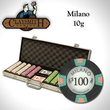 NEW 500 PC Milano Pure Clay 10 Gram Poker Chips Set Aluminum Case - Pick Chips