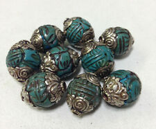Beads Tibetan Turquoise Resin Carved Silver Beads 18-28mm