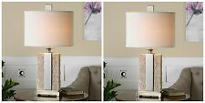PAIR ANTIQUED STONE IVORY TEXTURED FINISH BRUSHED NICKEL TABLE LAMP LINEN SHADE