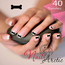 40 x Nail Art Water Transfers Stickers Wraps Decals Dog Bone Black