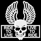 Skull Ride to Live to Ride S cráneo Parche bordado Thermo-Adhesiv iron-on patch