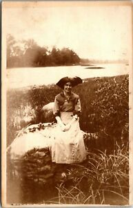 Vintage 1910's RPPC Young Girl NAMED Muncie Indiana IN, Real Photo Postcard