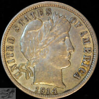 1914 D Barber Dime, Extremely Fine+ Condition, Silver, Free Shipping, C5002