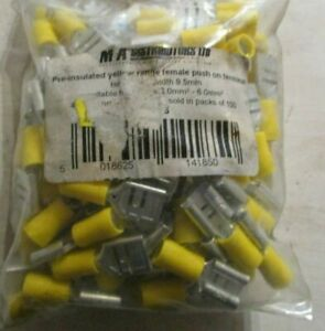 T185 x 100  Maystar Pre Insulated Yellow Female Push On Terminals 9.5mm