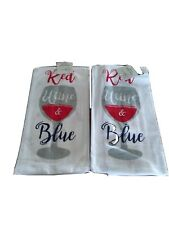 "(2) Flour Sack Towels by Mainstays  Dish  towel ""Red Wine & Blue"" Patriotic"