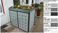 Metall Mülltonnenbox aus Metall Müllbox Mülltonnenschrank 2x240-l-PfD-foliert