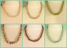"6 PCS  18"" Aqua Green Beige Handmade Beaded Rope Chain Necklace WHOLESALE LOT"