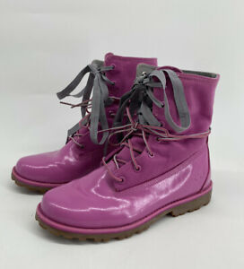 Timberland Womens Sz 6 Pink Patent Leather Canvas Waterproof Boots Earthleepwr
