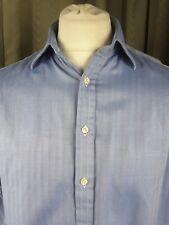 "Thomas Pink 100% Cotton Double Cuff Herringbone Twill Blue Shirt 16"" 34cm C42"""