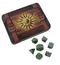 Cleric's Prayer Book  | Gunmetal Gray with Green Numbers Metal Dice