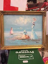 FRAMED IMRPESSIONIST OIL PAINTING ON BOARD signed  TOM