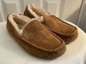 Ugg Chesnut Ascot Suede Sherpa Lined Slippers Men Sz 10 Rubber Sole
