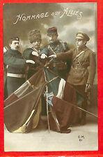 """GUERRE 14/18 WW1 CARTE POSTALE FANTAISIE """" HOMMAGE AUX ALLIES """" DRAPEAUX FLAGS"""