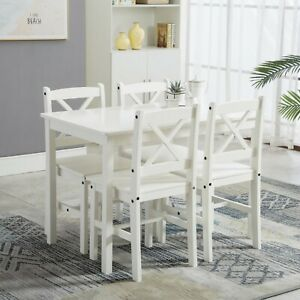 Classic Solid Wooden Dining Table and 4 Chairs Set Kitchen Home Grade B