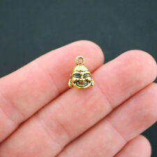 8 Buddha Charms Antique Gold Tone 3D - GC507
